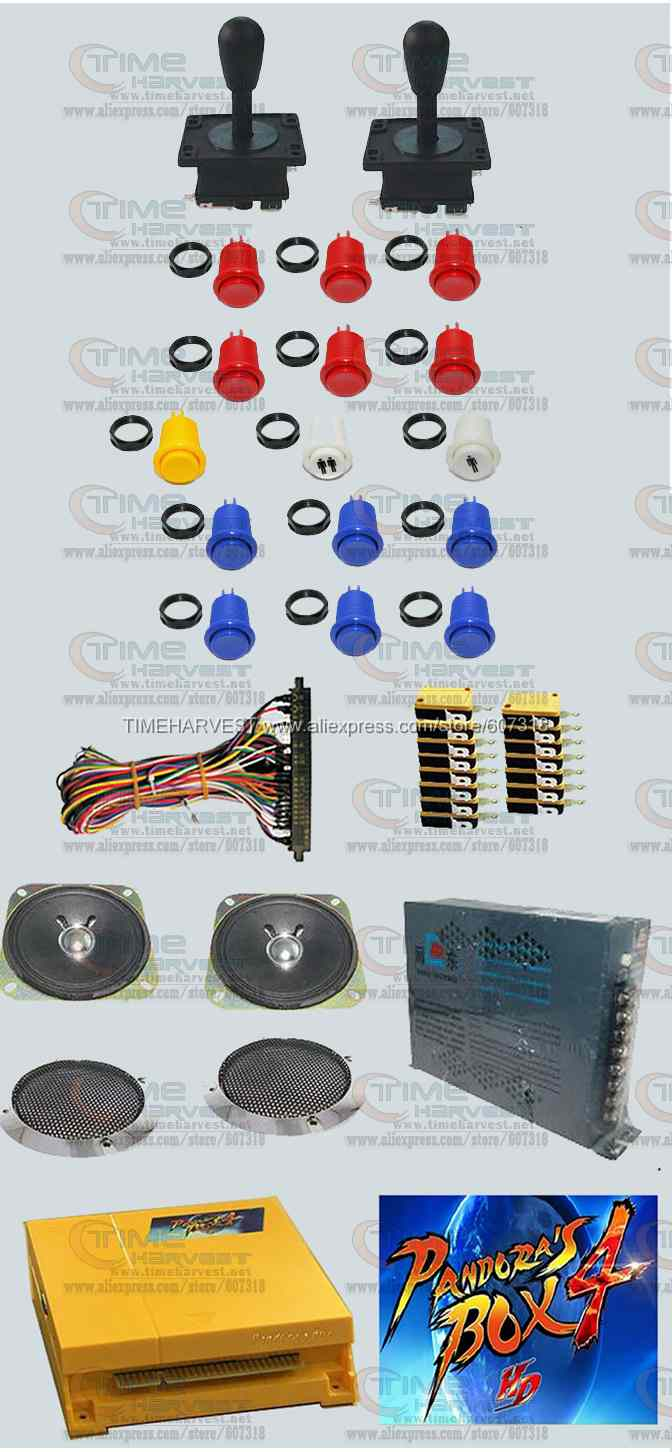 Arcade parts Bundles kit With 645 in 1 Pandora's Box 4 american style Joystick american style button Microswitch Jamma Harness sanwa button and joystick use in video game console with multi games 520 in 1