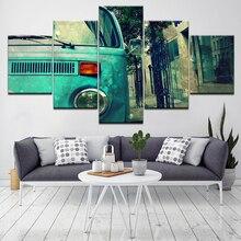 Retro car image poster 5 Piece Wallpapers Art Canvas Print modern Poster Modular art painting for Living Room Home Decor цены