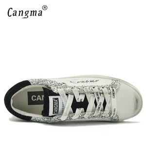 Image 5 - CANGMA Designer Turnschuhe Frauen Weiß Atmungs Echtem Leder Schuhe Damen Schuhe Neue Stil Wildleder Silber Glitter Flache Schuhe