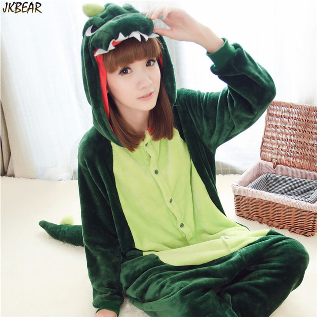Hot-sale Cute Green Dinosaur Flannel Onesies for Teenagers and Adults Funny Animal Costume Onesie Pajamas Plus Size PJS S-XL
