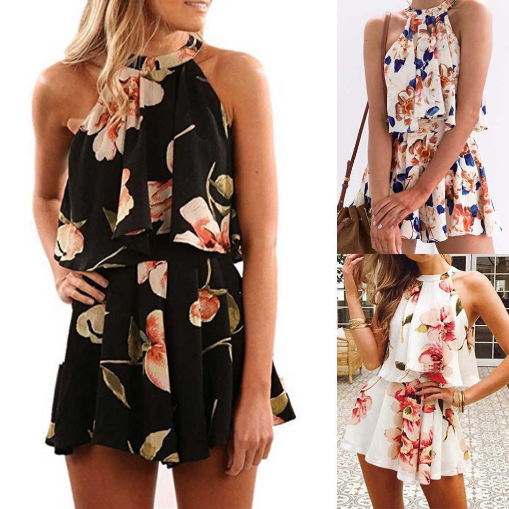 Nuevo traje de verano con estampado Floral y hombros descubiertos con volantes sin mangas para mujer