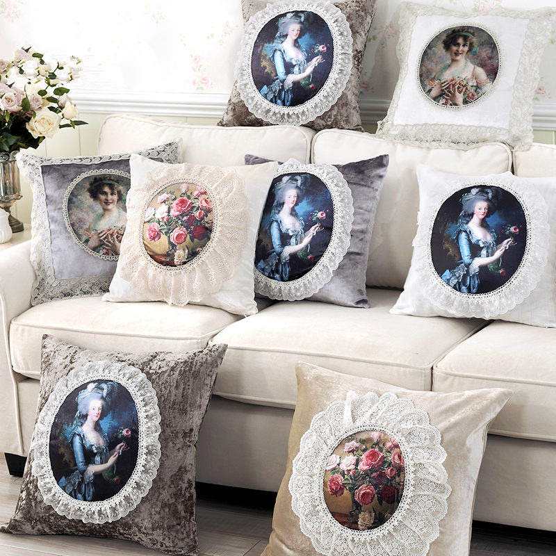 New european embroidered cushion cover christmas decorations for home sofa pillow cover portrait printing lace pillow case