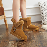 2019 Winter Fur Warm Snow Boots Shoes Woman Cow Leather Rabbit Hair High Quality Boots Girls bota feminina zapatos de mujer 41