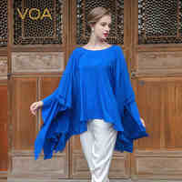 VOA 2017 Summer New Arrival Blue Silk Ruffles T Shirt Fashion Plus Size 5XL Loose Casual Batwing Sleeve Women Tops BZT00201