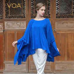 VOA 2018 Новое поступление, летняя синяя шелковая Футболка с оборками, модная, размера плюс 5XL, свободная, повседневная, рукав летучая мышь, женс...