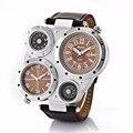 Marca de Moda Marca Multi-Função Militar Sports Relógio para Homens Com 2 Round DiaL Homens Pulseira de Couro Dupla Movt relógios de Pulso