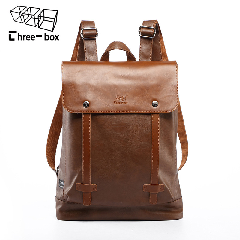 Three-box Brand Men's Large Capacity Laptop Backpack For Travel Casual Men Daypacks Leather Travle Backpack Male Mochila men backpack student school bag for teenager boys large capacity trip backpacks laptop backpack for 15 inches mochila masculina