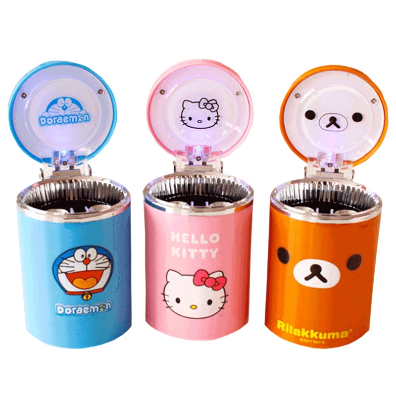 Cartoon Car ashtray with LED Hello Kitty KT Accessories for Girls Boy Car Ash Tray Ashtray Storage Cup Holder Gifts Accessories цены