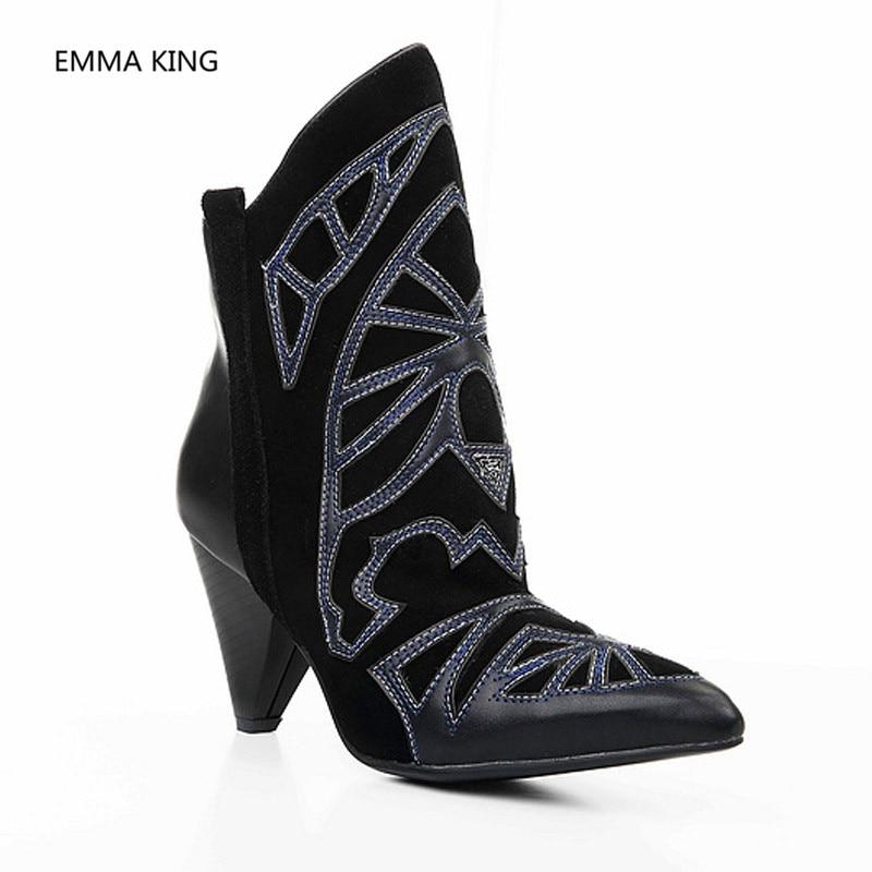 Chaussures Pointu Talons As In Couture Dame Picture Sur Partie Femme Shown Bottes Concepteur D'hiver Cheville Rue Slip Spike Court Bout De Mode Femmes 29IHED