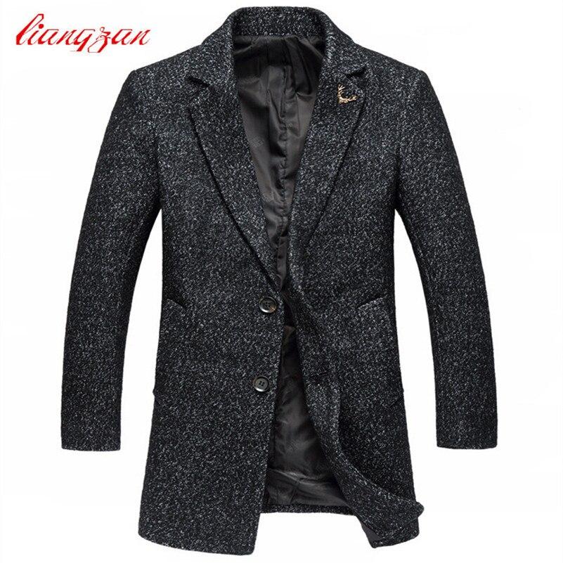Men Medium long Woolen Coats New Arrival Autumn Winter Slim Fit Overcoats Brand Plus Size M