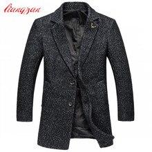 Мужчины Средней длины Шерстяные Пальто Осень Зима Slim Fit Пальто Марка Плюс Размер М-5XL Случайный Шерстяной Жакет пальто F2327