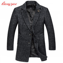 Men Medium-long Woolen Coats New Arrival Autumn Winter Slim Fit Overcoats Brand Plus Size M-5XL Casual Wool Jacket Coats F2327