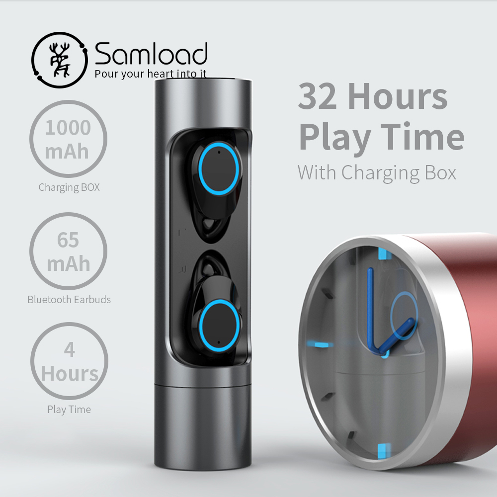Samload Bluetooth 5.0 Earphone Stereo Wireless Earbud Waterproof Headphones With mic Charging box For Apple iPhone SE 7 8 X Siri-in Bluetooth Earphones & Headphones from Consumer Electronics    3