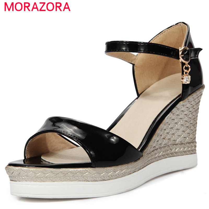 MORAZORA spring summer wedges heel female sandals extreme high heels with buckle new fashion black color women shoes