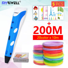 Myriwell 3D Pen 3d handle RP-100A pla 1.75mm abs filament 3d printed pen 3 d pen Painting tool for children birthday gift myriwell 3d pen rp 100b with pla abs filament 200m 3d printer pen 3 d pen free fingersleeve drawing tool the best child gift
