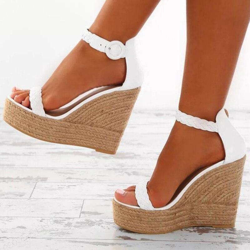 New Summer Women Platform Sandals Gladiator Fashion High Heels 2019 Ladies Wedges Open Toe Sandals White Gold Sandals WF224