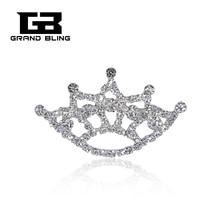New Fashion Clear Rhinestone Silver Tone Crown Brooch Pin   FREE SHIPPING!!! zinc alloy artificial diamond crown pin brooch silver