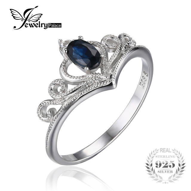 JewelryPalace Crown 0.3ct Oval Genuine Sapphire Engagement Anniversary Promise Ring 925 Sterling Silver Fine Jewelry For Women