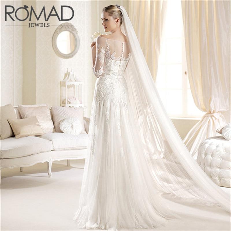 bb8190c28dd ROMAD 2019 Elegant Wedding Veil 3 Meters Long Soft Bridal Veils 2 layers  Ivory White Color Bride Wedding Accessories R4
