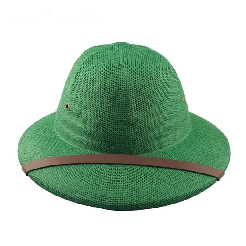 0e610fd451846 Free shipping Straw Pith Bucket Safari hats Jungle Sun Hat Safari Style  Adult Hat New Straw Helmet safari hat