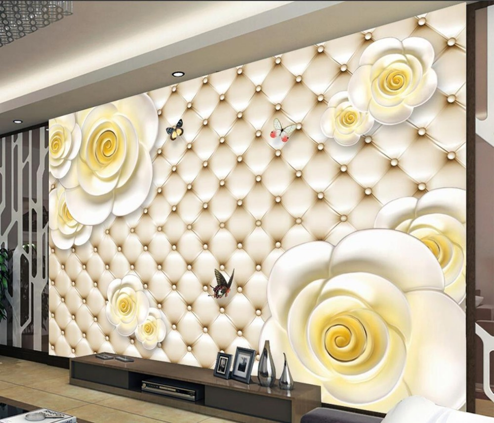 US $11 2 OFF Dinding Mural Foto Wallpaper 3d Bunga Bantuan Dekorasi 3d Mural Wallpaper Untuk Ruang Tamu Wallpaper Untuk 3d Photo Wallpaper