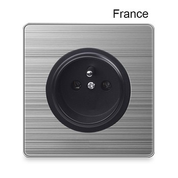 1 2 3 Gang 1 2 Way Bright home switch socket type 86 wall socket with led brushed stainless steel Germany France US UK socket 17