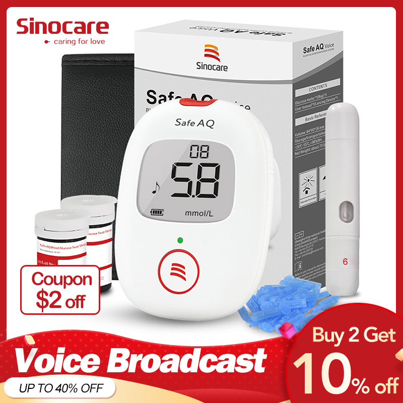 Sinocare Seguro AQ Voz Medidor de Glicose Glicosímetro Sangue com Tiras de Teste 50/100 Lancetas Blood Sugar Tester com Voz para Diabetes