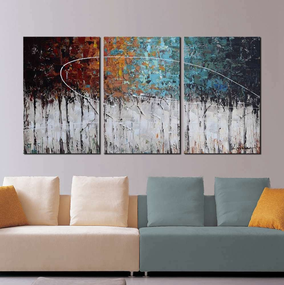 modern art abstract painting color forest 3 panel canvas art