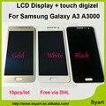 Бесплатный через DHL 10 ШТ./ЛОТ Нет Dead Pixel Хорошо Для Samsung Galaxy A3 A3000 ЖК Ассамблеи с Сенсорным Экраном ЖК-Экран Белый Черный глод