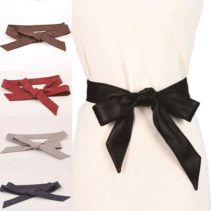 Women Long Strip Belts Lace-Up Bowknot Pu Leather Female Belts Tie Cummerbund Casual Dress Belt Wedding Belts Mujer pasek damski