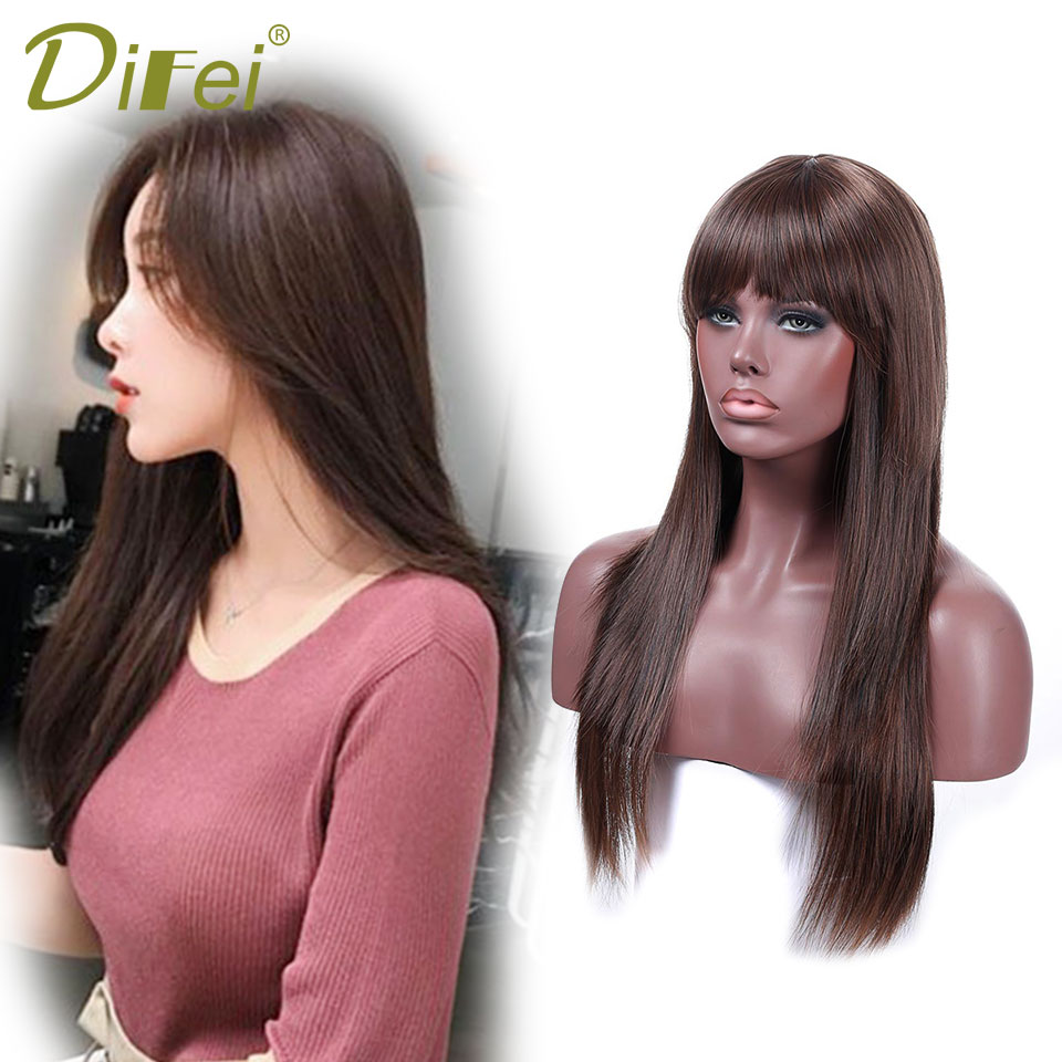 DIFEI Kanekalon Wigs Long Afro Silky Straight Wig Medium Brown Synthetic Wigs for Black Women African Hairstyle