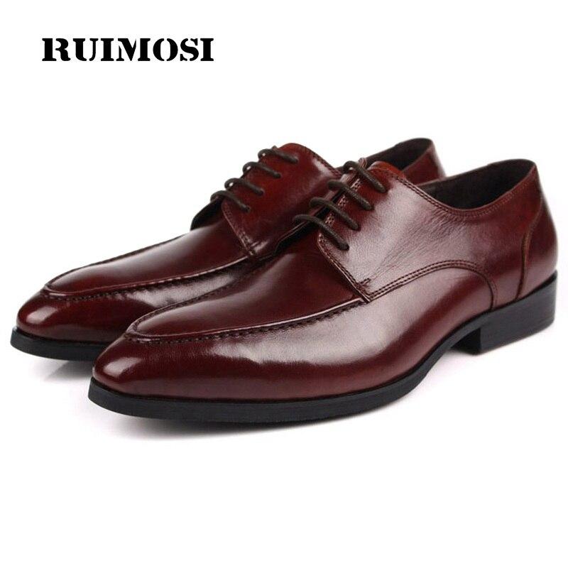RUIMOSI Elegant Derby Man Dress Shoes Genuine Leather Designer Oxfords Luxury Brand Men's Bridal Wedding Footwear For Male EH28