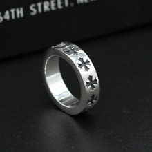 S925 Sterling Silver Jewelry Thai Silver Ring Male And Female Stars With Paragraph Ring Retro Gothic Cross Ring