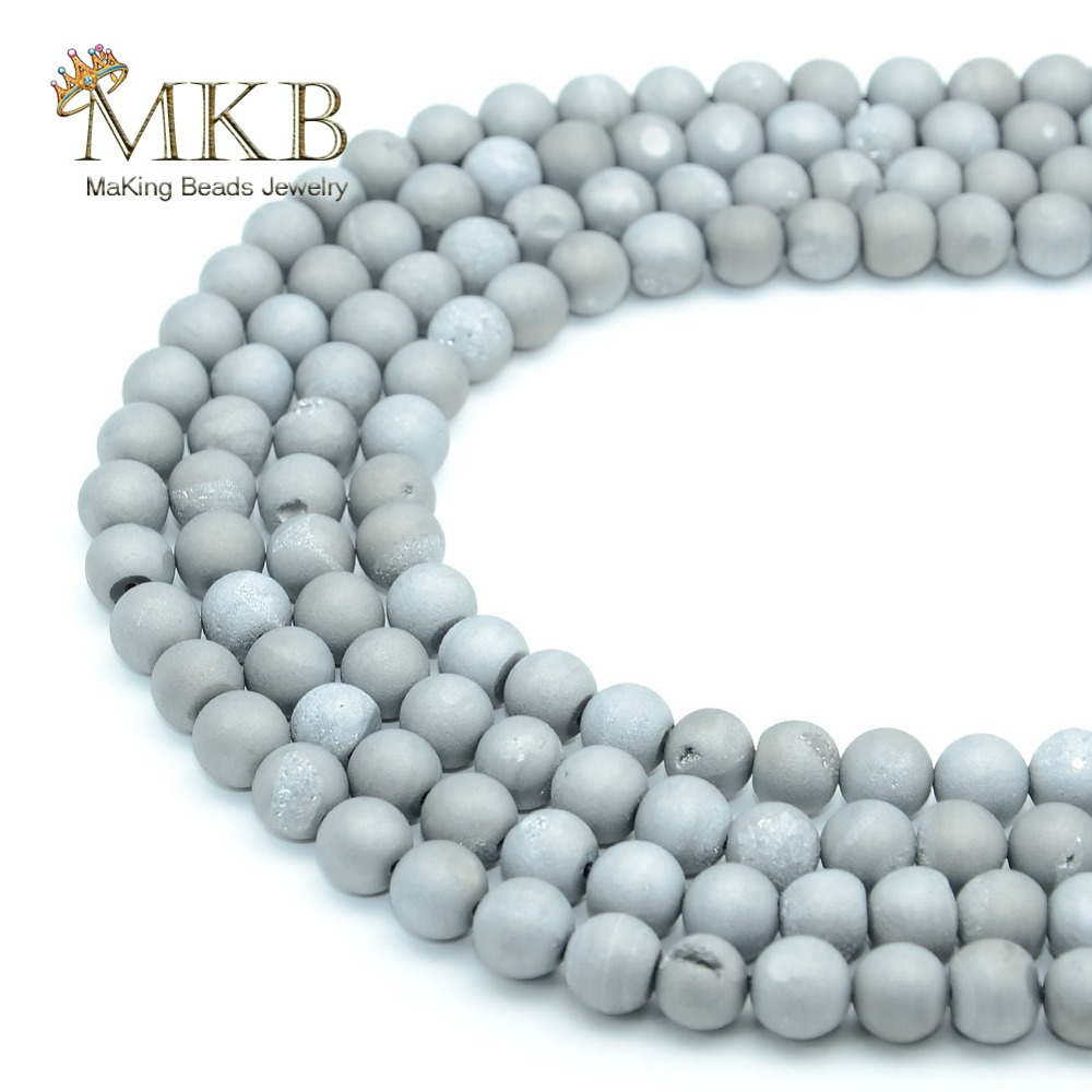 Natural Stone Grey Agates Round Loose Beads For Jewelry Making 4 6 8 10mm Spacer Gem Beads Diy Bracelet Wholesale Perles Jewelry & Accessories Beads