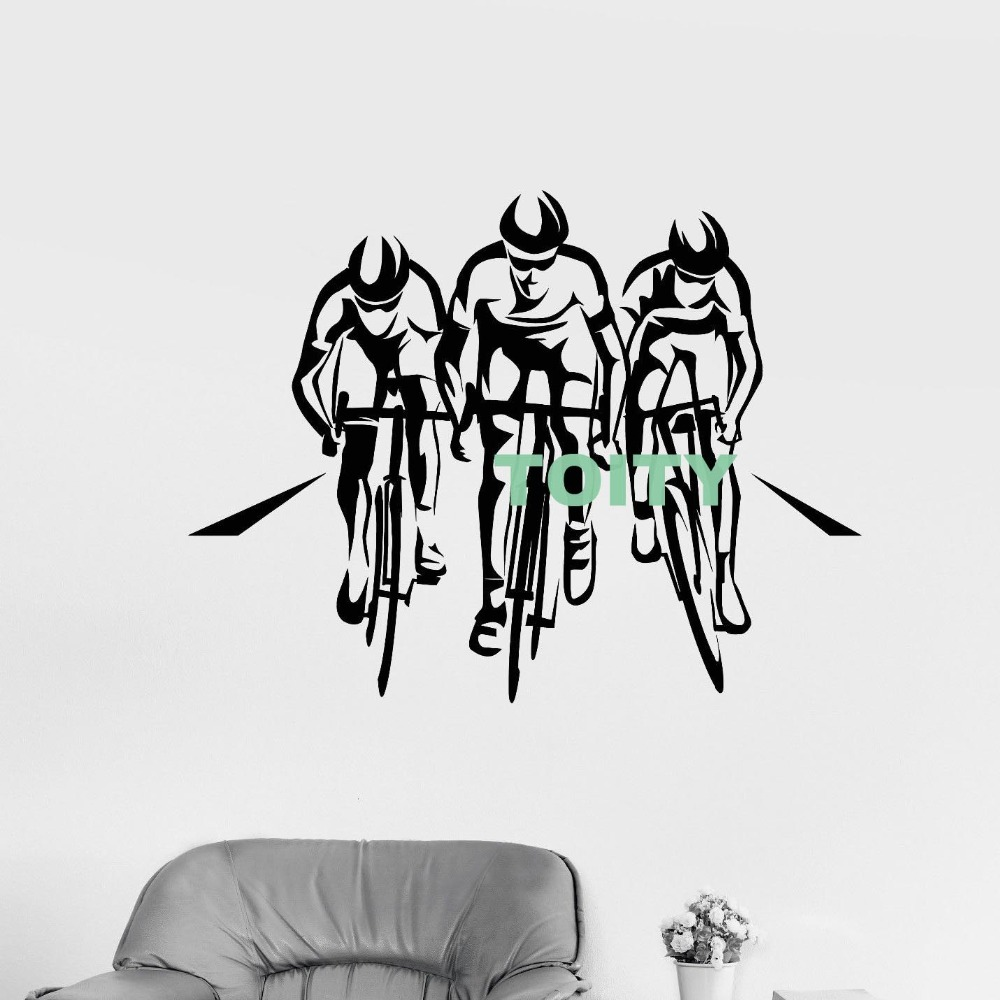 Vinyl wall decal cycle sport race cyclists bicycle sticker home interior design dorm art murals teen room decor h57cm x w76cm