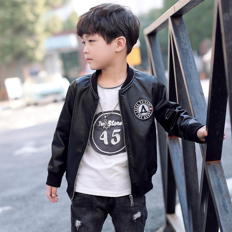New Hot Teenage Baby Boy Pu Leather Jacket Kids Leather Jacket