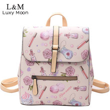 Женщины рюкзак элегантный дизайн цветочные принты Рюкзаки Высокое качество из искусственной кожи для девочек-подростков школьная плеча Crossbody сумки XA1099H