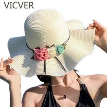 Fashion Parent-Child Wide Large Brim Floppy Sun Hat Summer Beach Straw Hats Mother Daughter Travel UV Protect Cap With Flowers