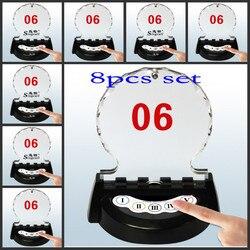 Mesa-cartão botão de chamada com lâmpada monocromática, usuários-dimulted 5 botões, restaurante/banco/escritório/fábrica pager impermeável, 8 peças