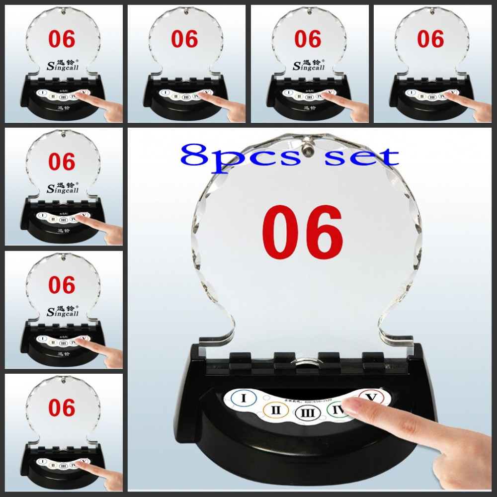 Table-card call button with monochromatic lamp,users-difined 5 buttons, restaurant/bank/office/factory waterproof pager, 8pcs