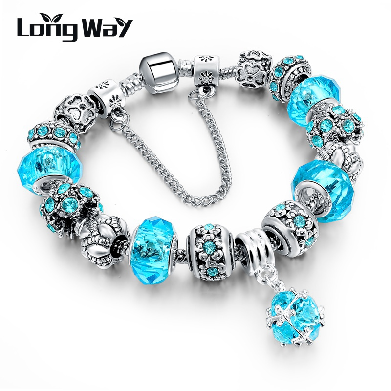 LongWay European Style Authentic Tibetan Silver Blue Crystal Charm Bracelet for Women Original DIY Beads Jewelry