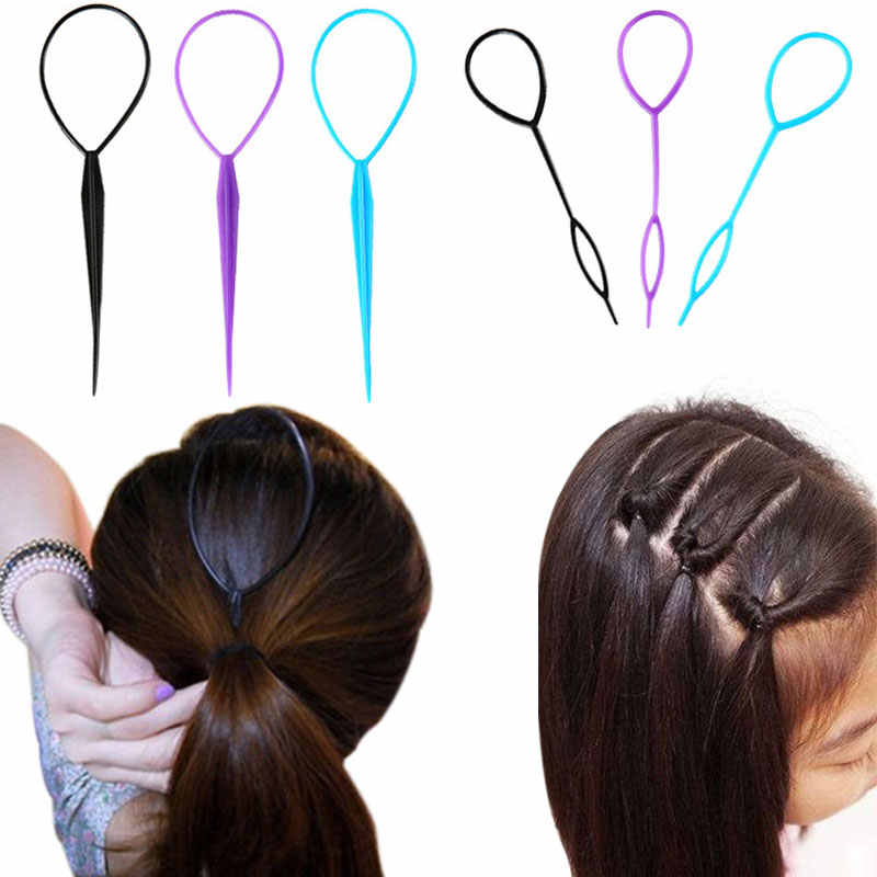 2Pcs/Set Magic Hair Bun Maker Hairband Hair Accessories Women Girls Plate Pull Pins Styling Holder Quick Dish Headband