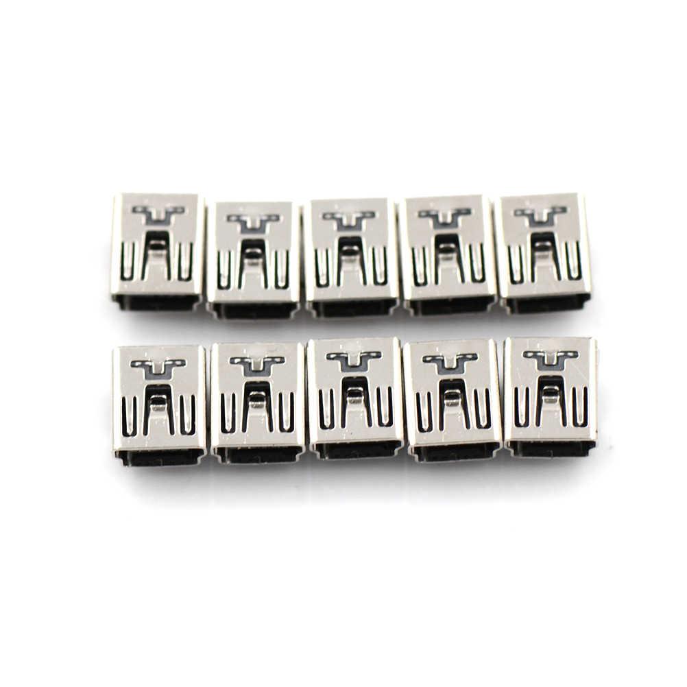 10 Stuks Mini Diy Usb Vrouwelijke 5 Pin Type B Haakse Pcb Socket Connector 2 Benen