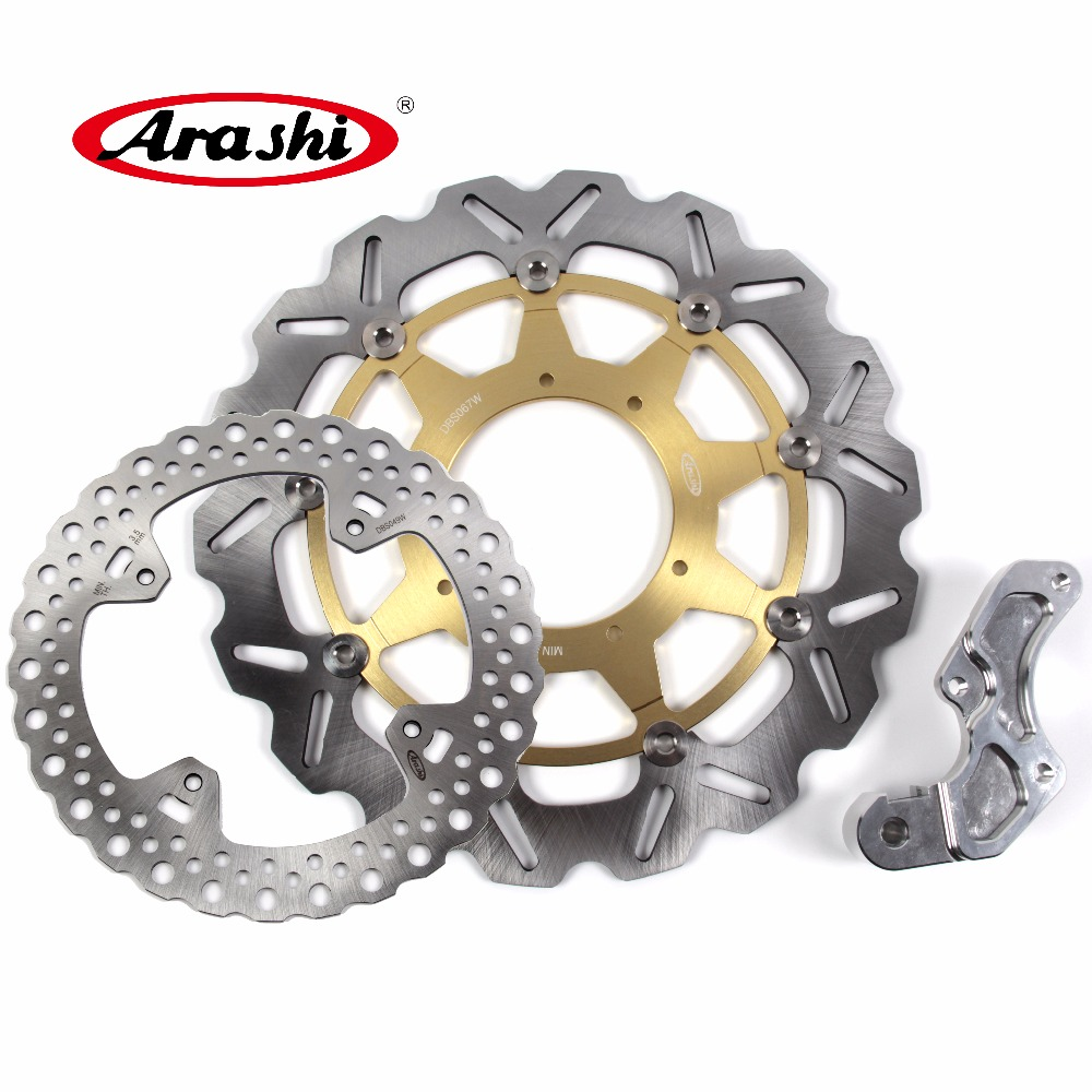 Arashi 1 Set For HONDA CRF R 250 2004 2005 2006 2007 2008 2009 2010 2011 2012 2013 2014 CNC Front & Rear Brake Disc Rotors pair steel front brake rotors disc braking disks for moto guzzi norge t gtl 850 2007 breva 1100 2005 2007 stelvio 1200 2008 2009
