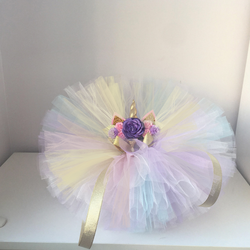 faefd45f2ff0b Toddler Baby Girl First 1st Birthday Unicorn Costume Outfit Colorful Tutu  Infant Party Dress For Girl Summer Clothes Baptism One-in Dresses from  Mother ...