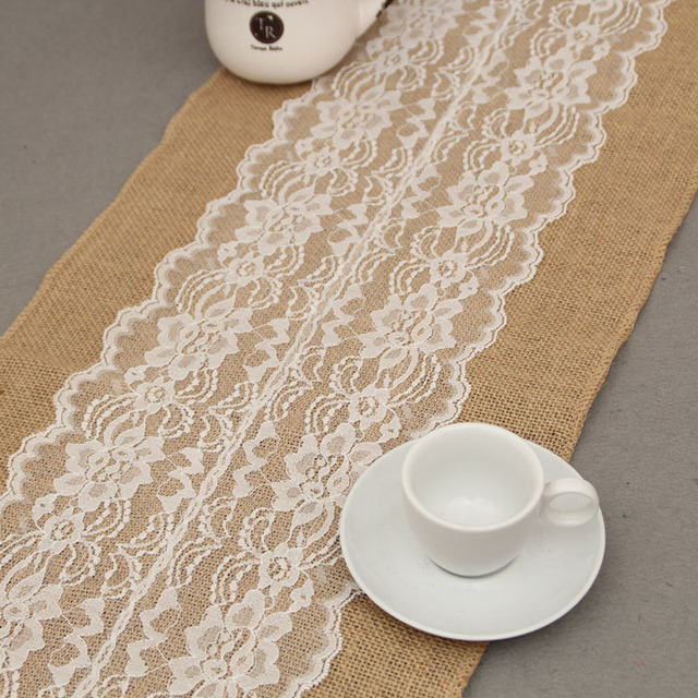 Fashion Table Decoration Toile De Jute Runner Burlap Lace Runners For Wedding