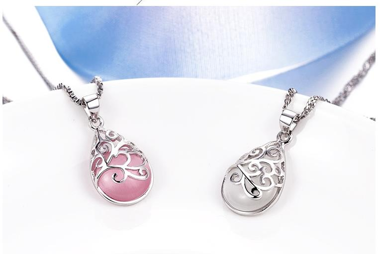 TJP Beautiful Pink Water Drop Wishing Stones Pendants Necklace For Women Engagement Party 925 Sterling Silver Choker Necklaces in Pendant Necklaces from Jewelry Accessories
