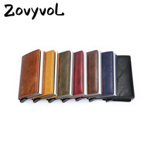 ZOVYVOL Aluminum Wallet Metal Credit Card Holder Automatic Elastic Vintage PU Leather Antitheft Rfid Blocking Pass Port H