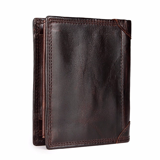 High Quality Genuine Leather Men Vintage Bifold Wallet Brand Famous Pocket Credit Card Holder Short Designer Male Mini Purse