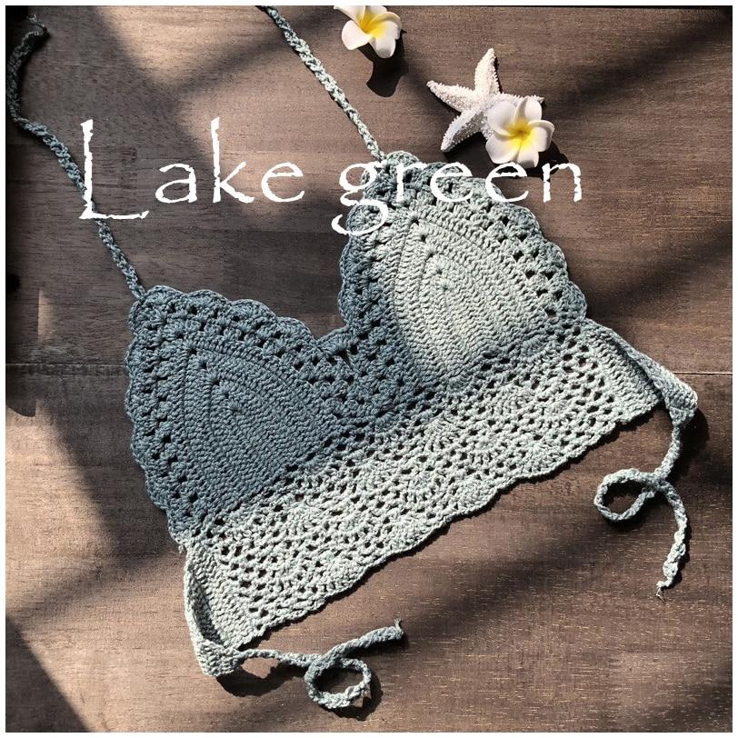 2019 New Triangle Bikini Top Woman Hollow Out Swimsuit Crochet Black Bikini Top Sexy Swimming Bra Large Female Swimwear S M L XL